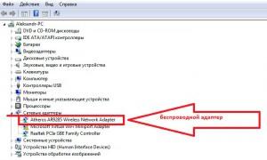 Беспроводной адаптер в диспетчере устройств в OS Windows 8