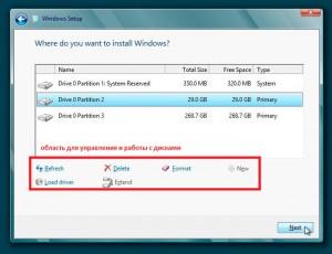 Работа с жесткими дисками в процессе установки Windows 8