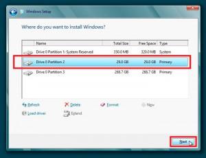 Выбор диска для установки Windows 8